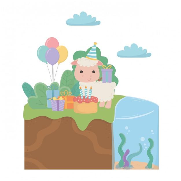 Kreskówka owiec z okazji urodzin Premium Wektorów