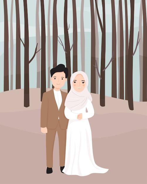 Kreskówka Para Panna Młoda I Pan Młody Muzułmanin Premium Wektorów