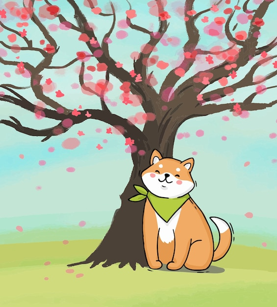Kreskówka Pies Akita Inu Pod Drzewem Sakura Premium Wektorów