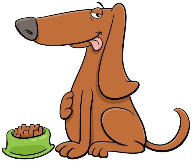 Kreskówka Pies Postać Zwierzęcia Z Jego Jedzeniem Premium Wektorów