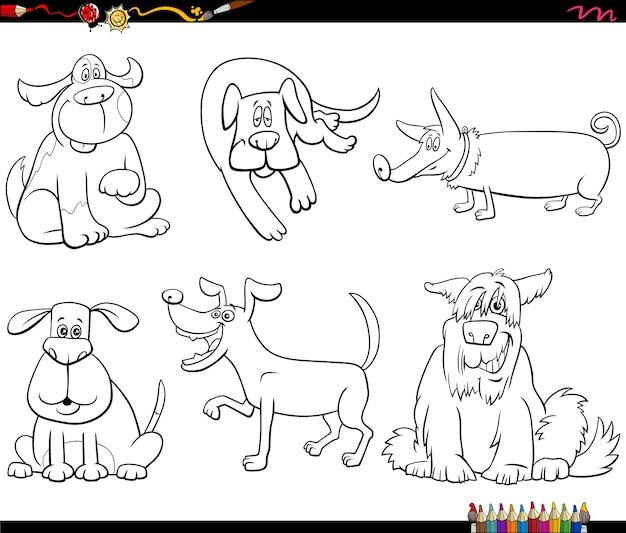 Kreskówka Pies Znaków Zestaw Kolorowanki Książki Premium Wektorów