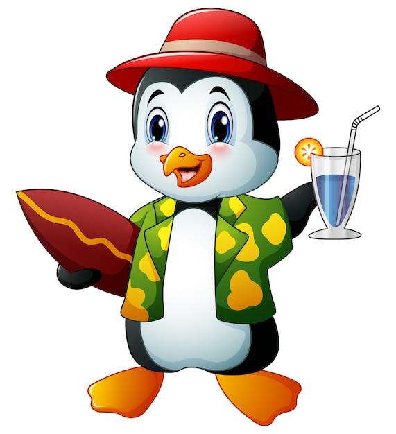 Kreskówka Pingwin Z Koktajlem I Deska Surfingowa Premium Wektorów