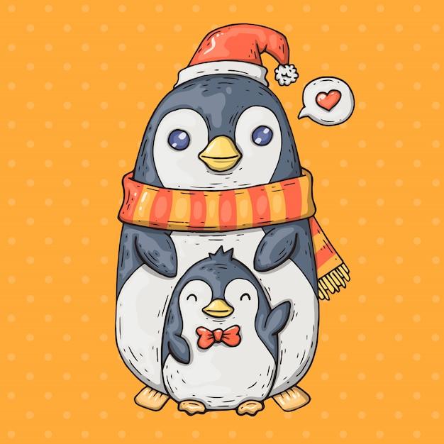 Kreskówka Pingwiny. Kreskówki Ilustracja W Komicznym Modnym Stylu. Premium Wektorów