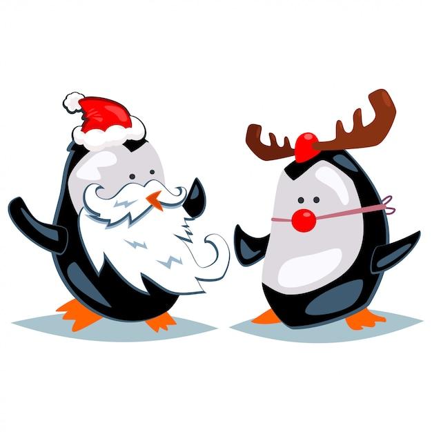 Kreskówka Pingwiny Przebrane Za świętego Mikołaja I Renifery. Wektorowa Bożenarodzeniowa Ilustracja Odizolowywająca Premium Wektorów