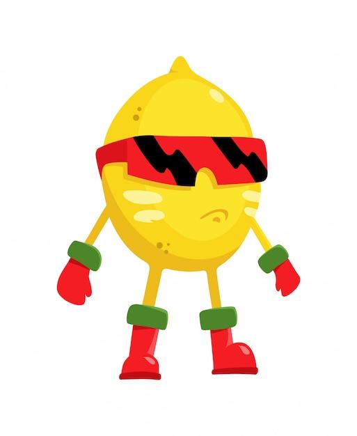 Kreskówka płaski charakter cytryna superbohatera owoców w masce w stylu płaski Premium Wektorów