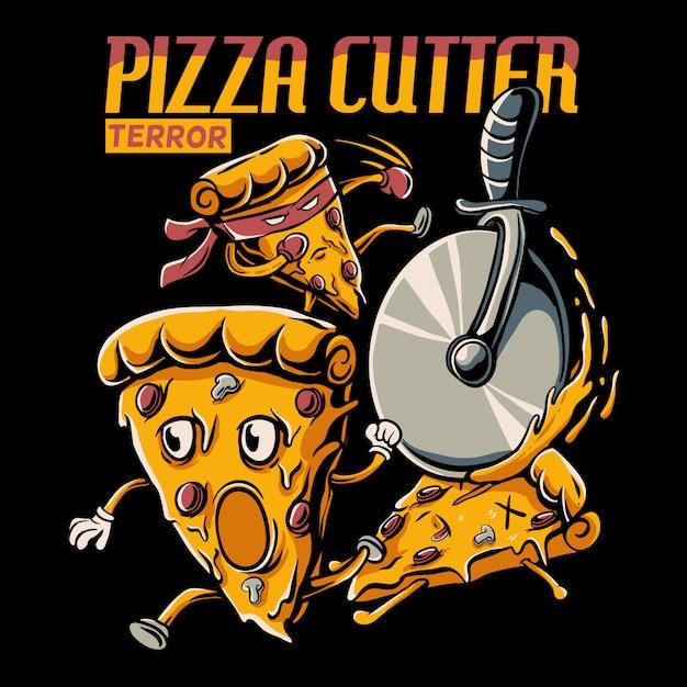 Kreskówka Plasterek Pizzy ścigany Przez Ilustrację Krajalnicy Pizzy Premium Wektorów