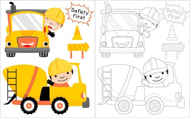 Kreskówka pojazd budowlany z szczęśliwym kierowcą Premium Wektorów
