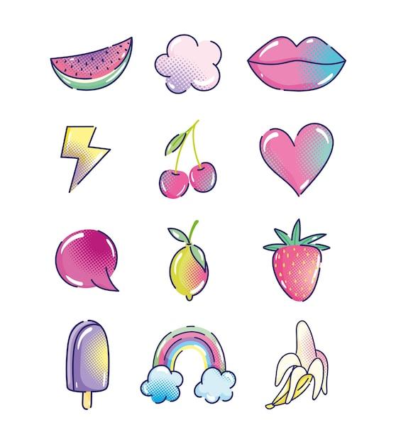 Kreskówka Pop-art, Półtonów Moda Retro Owoce Usta Serce Tęcza Lody Ikony Premium Wektorów