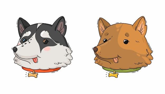 Kreskówka Portret Psa Husky I Brown Retriever Premium Wektorów