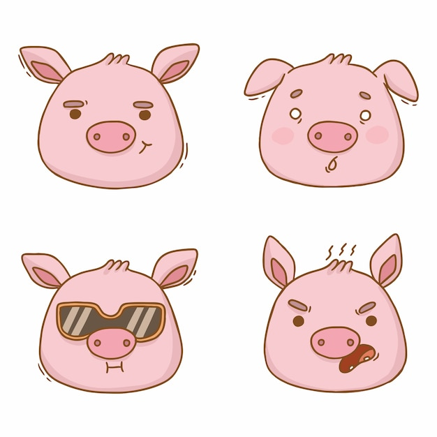 Kreskówka Portrety świń Emocje Zły Przestraszony Premium Wektorów