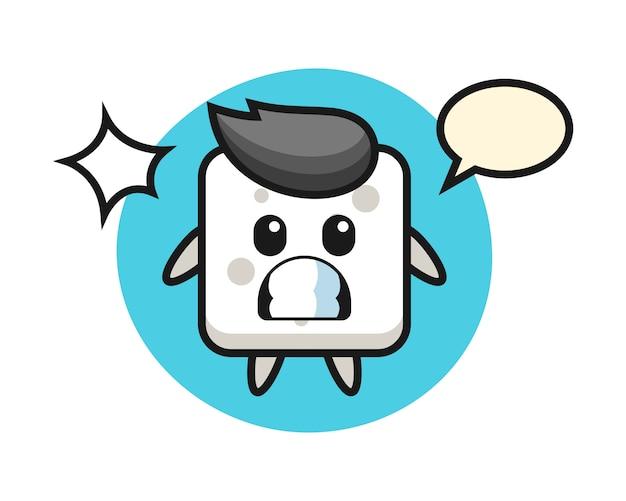 Kreskówka Postać Kostki Cukru Z Zszokowanym Gestem, ładny Styl Na Koszulkę, Naklejkę, Element Logo Premium Wektorów