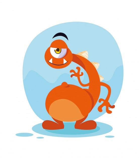 Kreskówka potwór pomarańczowy Premium Wektorów
