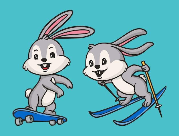 Kreskówka Projekt Zwierząt Królik Deskorolka I Snowboard Ilustracja śliczna Maskotka Premium Wektorów