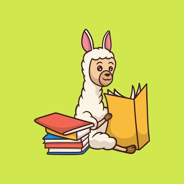 Kreskówka Projekt Zwierzęcia Lama Czytanie Książki Słodkie Logo Maskotki Premium Wektorów