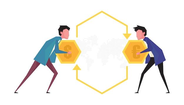 Kreskówka Przedstawiająca Wymianę Walut Przedstawia Dwóch Mężczyzn Trzymających Monetę Twarzą W Twarz Premium Wektorów