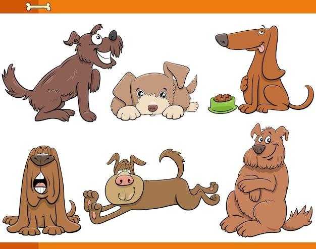 Kreskówka Psy I Szczenięta Zestaw Znaków Komiksów Zwierząt Premium Wektorów