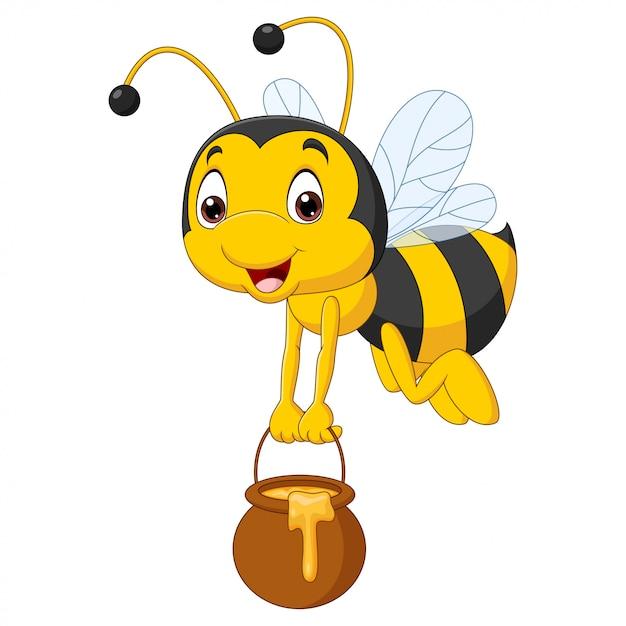 Kreskówka Pszczoła Trzyma Wiadro Miodu Premium Wektorów