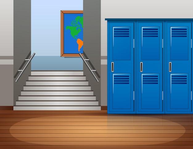 Kreskówka puste wnętrze szkoły Premium Wektorów