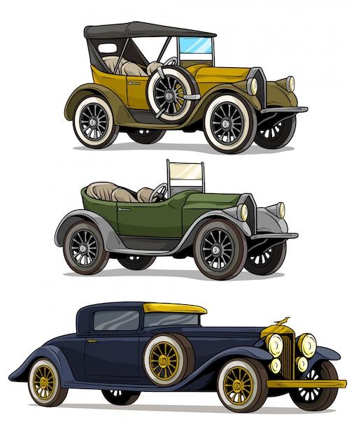 Kreskówka Retro Starodawny Luksusowych Samochodów Zamiennych Premium Wektorów