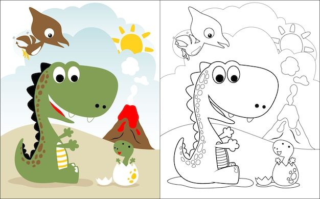 Kreskówka Rodziny Dino Premium Wektorów