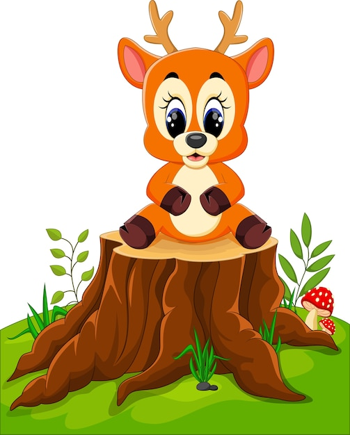 Kreskówka Rogacz Pozuje Na Drzewnym Fiszorku Premium Wektorów