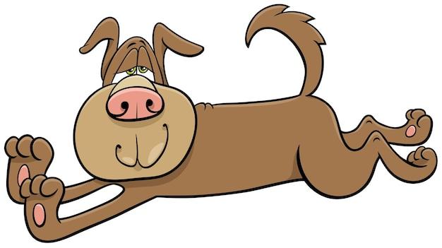 Kreskówka Rozciąganie Psa Komiks Postać Zwierzęcia Premium Wektorów