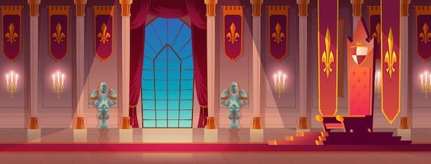 Kreskówka sala tronowa pałacu średniowiecznych królów Darmowych Wektorów