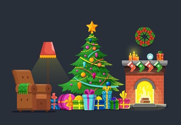 Kreskówka Salon Z Drzewa Xmas I Kominkiem. Boże Narodzenie Wakacje Wektor Płaski Koncepcja Premium Wektorów