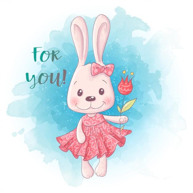Kreskówka śliczna królik dziewczyna z kwiatami. Premium Wektorów