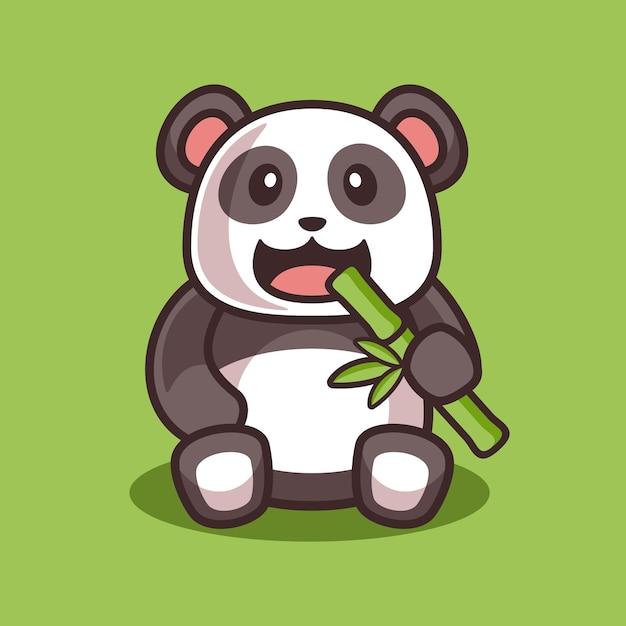 Kreskówka śliczna Panda Jedzenie Bambusa Ilustracja Premium Wektorów