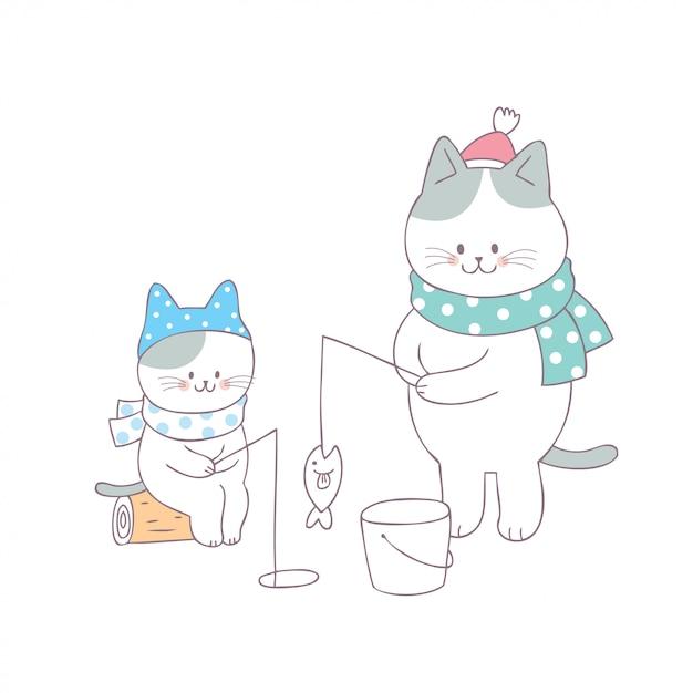 Kreskówka śliczny rodzinny kota połowu wektor. Premium Wektorów