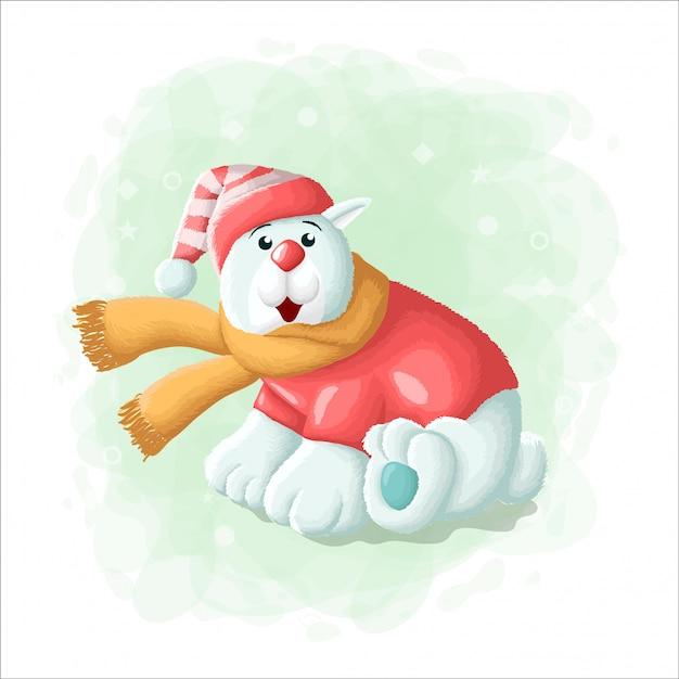 Kreskówka Słodki Miś Polarny Z Pudełko Wesołych świąt Ilustracji Premium Wektorów