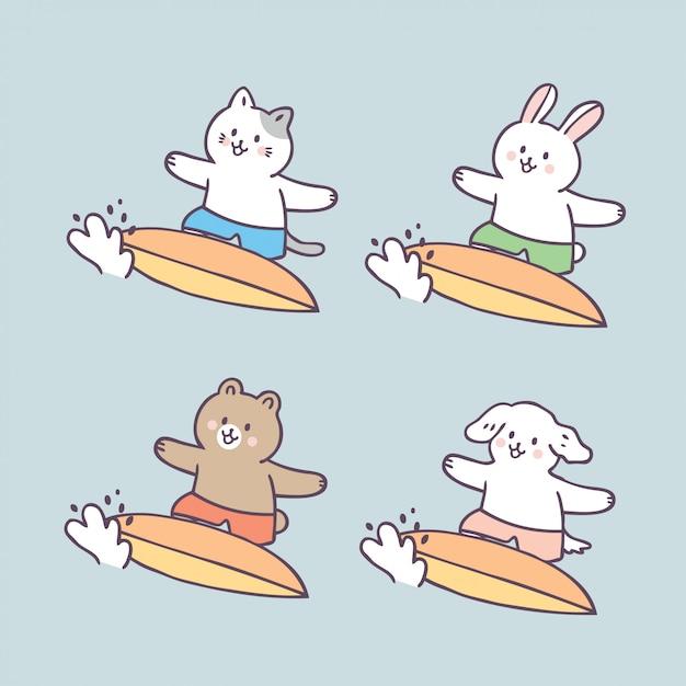 Kreskówka Słodkie Letnie Zwierzęta I Surfing Premium Wektorów