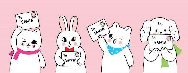 Kreskówka słodkie zwierzęta świąteczne i list do świętego mikołaja. Premium Wektorów