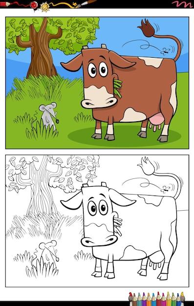 Kreskówka śmieszne Krowa Na Pastwisku Kolorowanki Książki Premium Wektorów