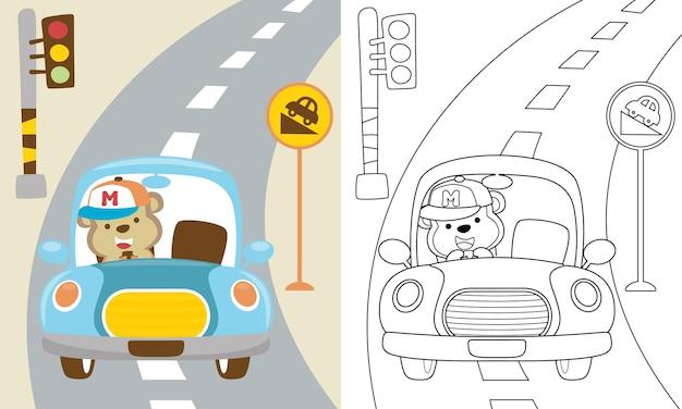 Kreskówka śmieszne Małpy Jazdy Samochodem Na Drodze Premium Wektorów
