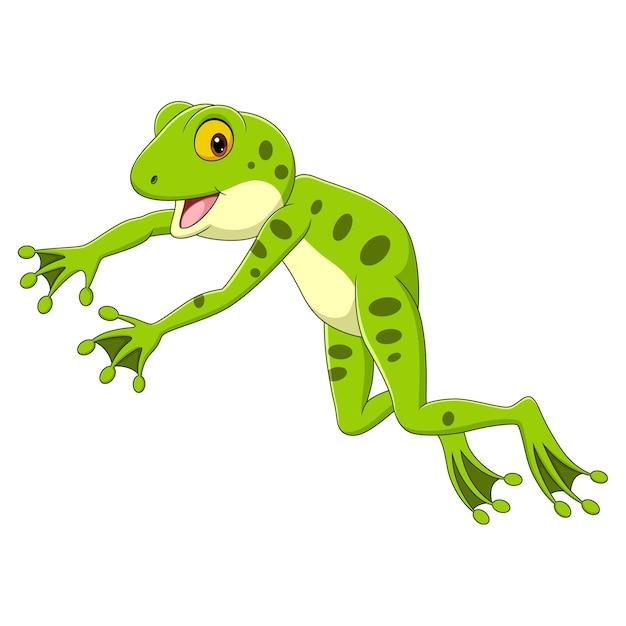 Kreskówka śmieszne żaba Skacząc Na Białym Tle Premium Wektorów