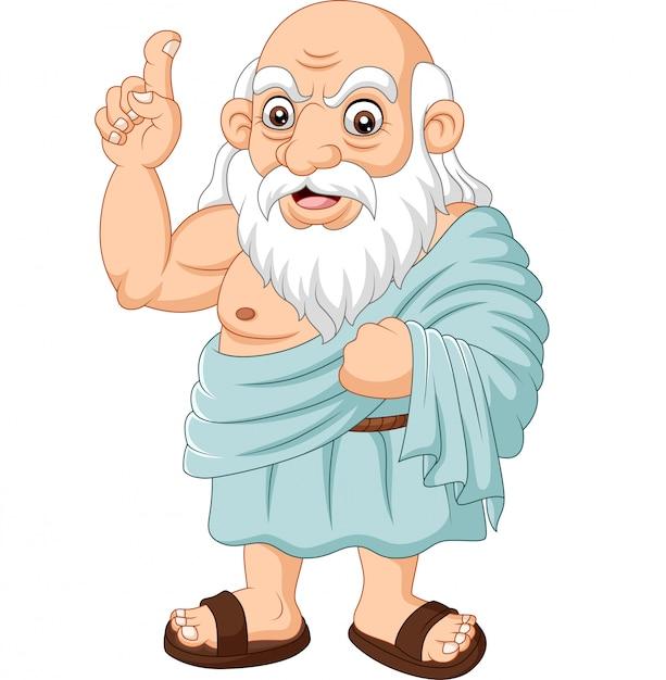 Kreskówka Starożytnego Greckiego Filozofa Premium Wektorów