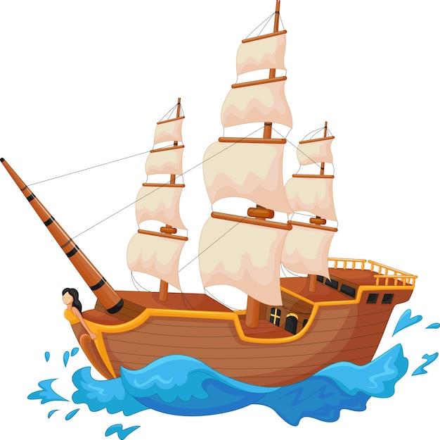 Kreskówka Statek Odizolowywający Premium Wektorów