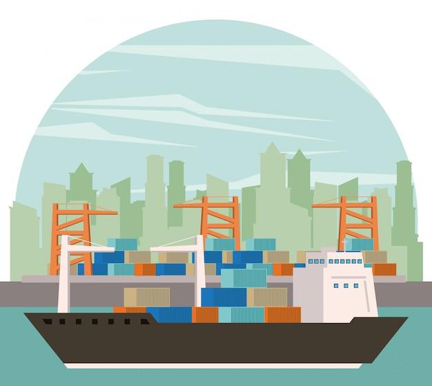Kreskówka statek towarowy transport towarów Darmowych Wektorów
