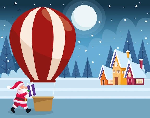 Kreskówka święty mikołaj i gorące powietrze balon nad domami i zimy nocą kolorowymi, ilustracja Premium Wektorów