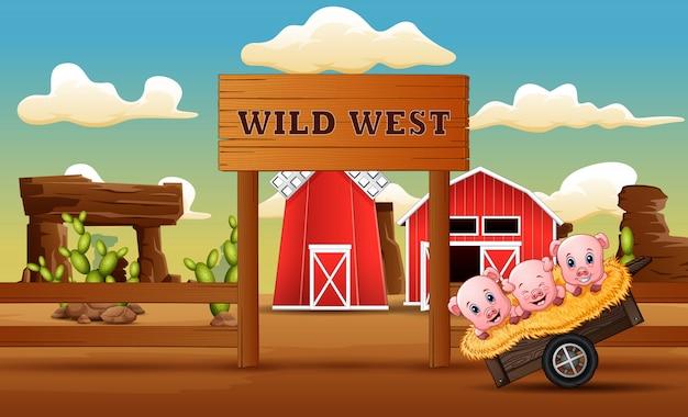 Kreskówka świń Przed Bramą Farmy Dzikiego Zachodu Premium Wektorów