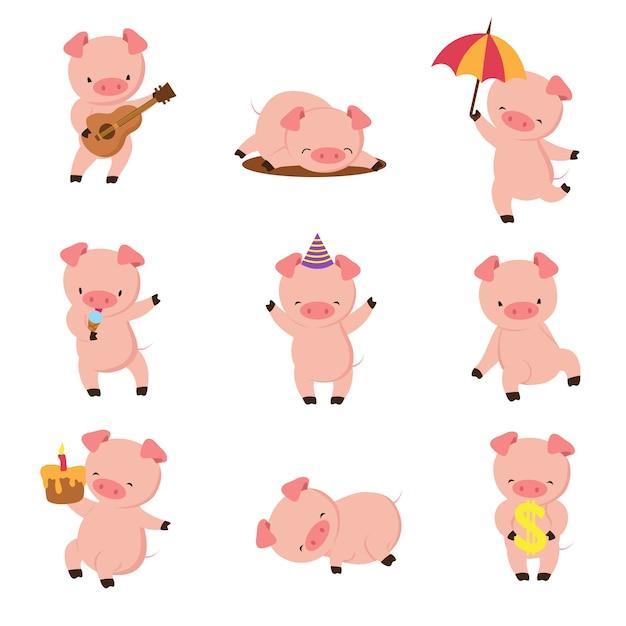 Kreskówka świnia śliczne Uśmiechnięte świnie Bawić Się W Błocie. Wektor Zestaw Znaków Zwierząt Gospodarskich Premium Wektorów