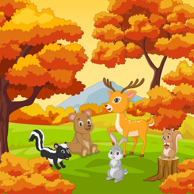 Kreskówka Szczęśliwe Zwierzęta Z Jesienią Tle Lasu Premium Wektorów
