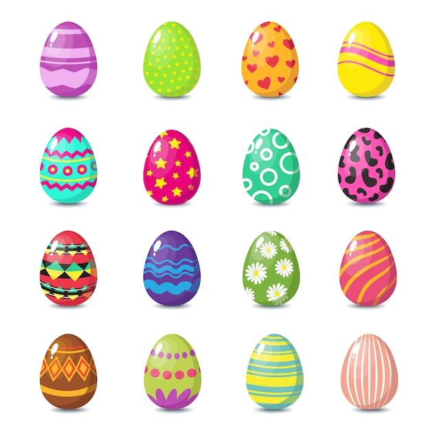 Kreskówka Szczęśliwego Easter śliczni Jajka Ustawiający Premium Wektorów