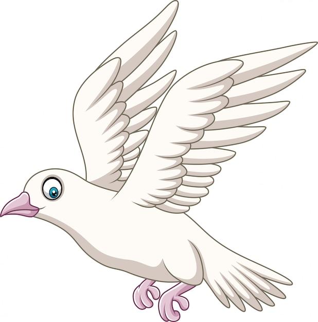 Kreskówka szczęśliwy gołąb latający Premium Wektorów