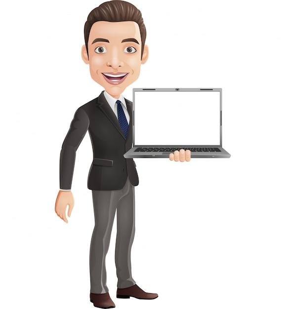 Kreskówka szczęśliwy młody biznesmen trzyma laptop Premium Wektorów
