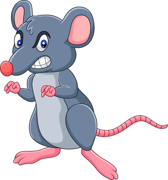Kreskówka szczur z gniewnym wyrażeniem Premium Wektorów