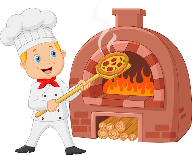 Kreskówka szef kuchni trzyma gorącej pizzy z tradycyjnym piekarnikiem Premium Wektorów