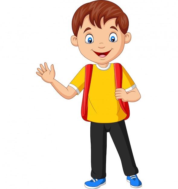 Kreskówka szkolny chłopiec przewożenia plecaka falowania ręka Premium Wektorów